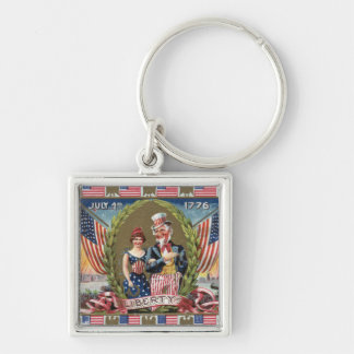 Uncle Sam and Lady Liberty Silver-Colored Square Key Ring