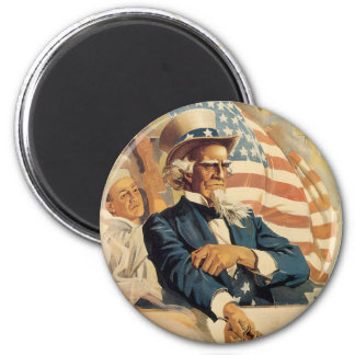 Uncle Sam and the Navy 6 Cm Round Magnet