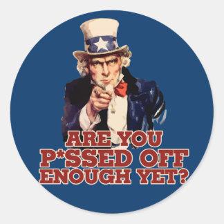 Uncle Sam Anti Government Round Sticker