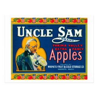 Uncle Sam Apple Label (blue) - Wapato, WA Postcard