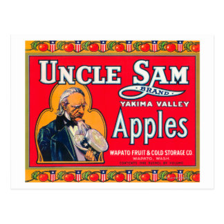 Uncle Sam Apple Label (red) - Wapato, WA Postcard