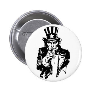 Uncle Sam B&W 6 Cm Round Badge