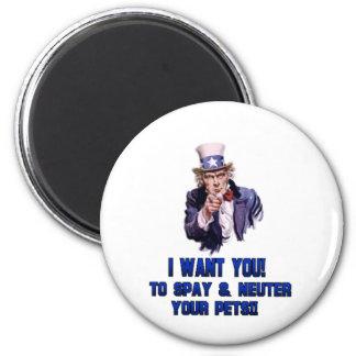 uncle sam blue 6 cm round magnet