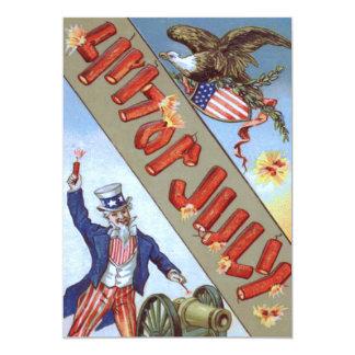 Uncle Sam Cannon Bald Eagle American Shield 13 Cm X 18 Cm Invitation Card