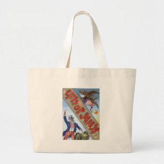 Uncle Sam Cannon Bald Eagle American Shield Jumbo Tote Bag