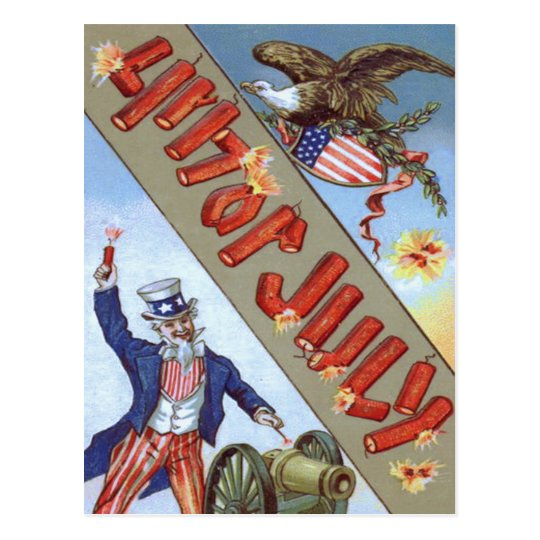 Uncle Sam Cannon Bald Eagle American Shield Postcard