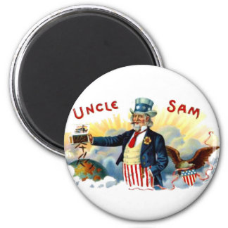 Uncle Sam Cigars July 4th Vintage 6 Cm Round Magnet