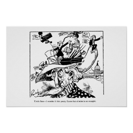 Uncle Sam Easter Hat Political Cartoon 1911 Poster