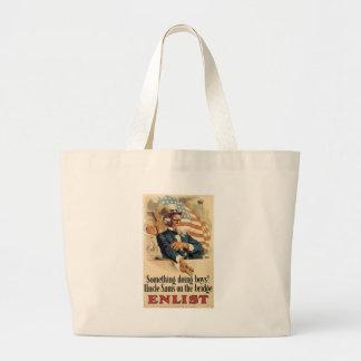 Uncle Sam Enlist World War 2 Tote Bags
