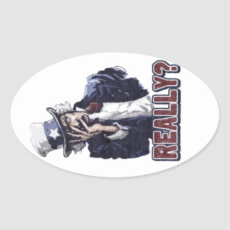Uncle Sam Facepalm Oval Sticker