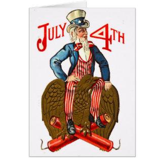 Uncle Sam Firecrackers July 4th Patriotic Vintage Card