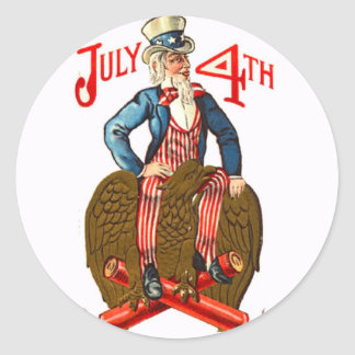 Uncle Sam Firecrackers July 4th Patriotic Vintage Round Sticker