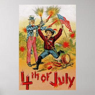 Uncle Sam Fireworks Child Vintage 4th of July Print