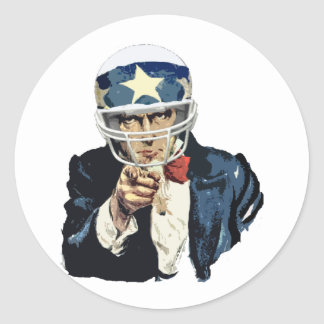 uncle sam football classic round sticker
