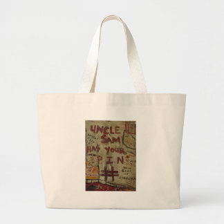 uncle sam has your pin number jumbo tote bag