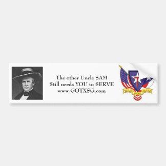 Uncle Sam Houston, TXSG Texas State Guard Bumper Sticker