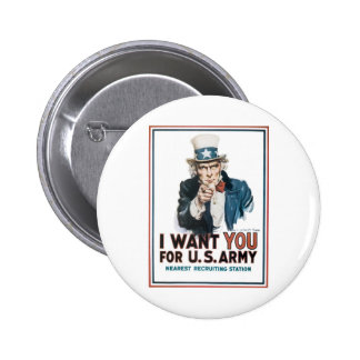 "Uncle Sam ""I Want YOU!"" 6 Cm Round Badge"