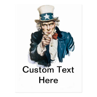 Uncle Sam I Want You Customize With Your Text Postcard