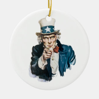 Uncle Sam I Want You Customize With Your Text Round Ceramic Decoration