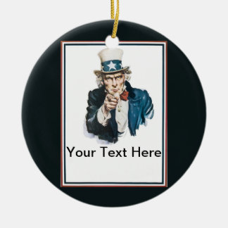 Uncle Sam I Want You Customize Your Text Here Round Ceramic Decoration