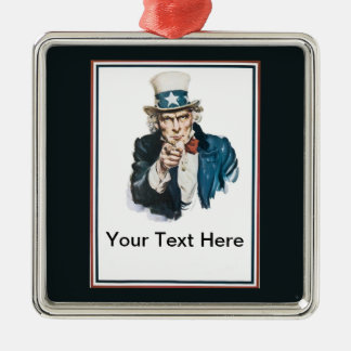 Uncle Sam I Want You Customize Your Text Here Silver-Colored Square Decoration