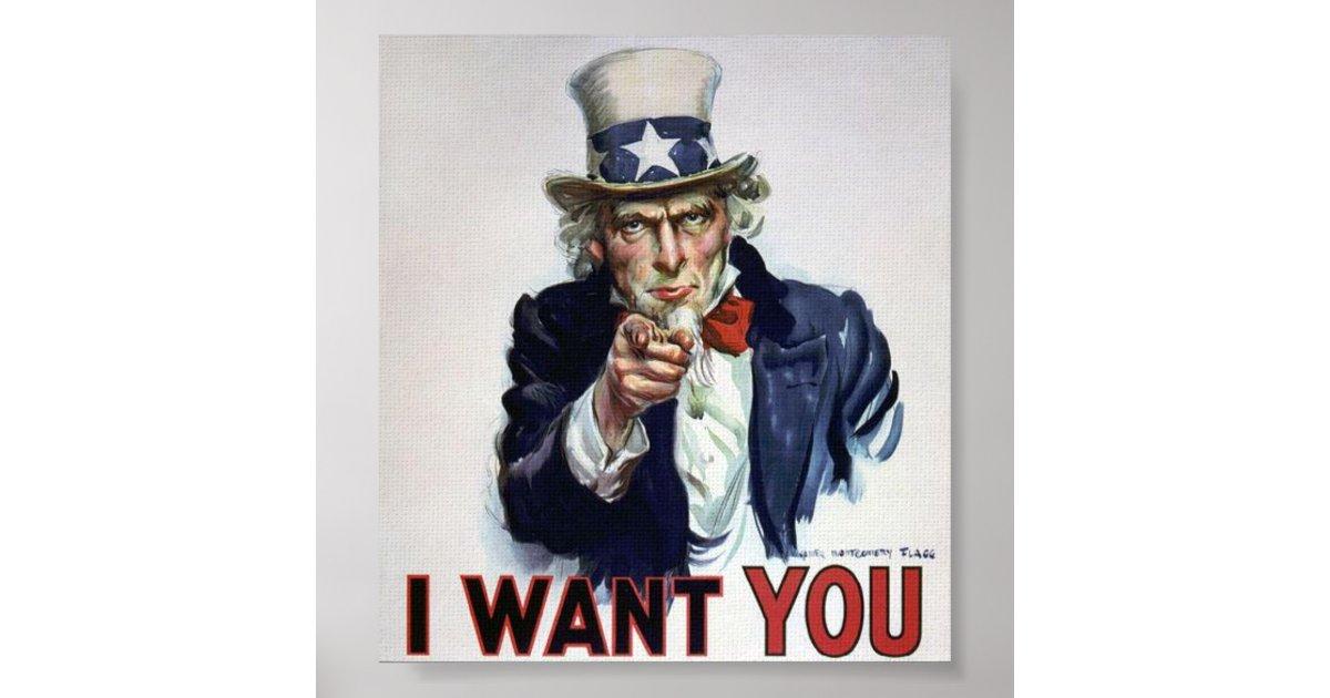 Uncle Sam I Want You Poster Zazzle Co Uk