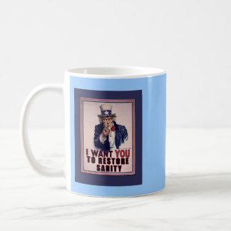 Uncle Sam I Want You to Restore Sanity Tshirts Basic White Mug