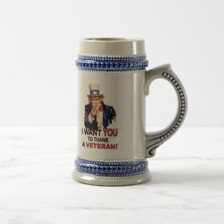 Uncle Sam I Want You To Thank A Veteran Beer Stein Beer Steins