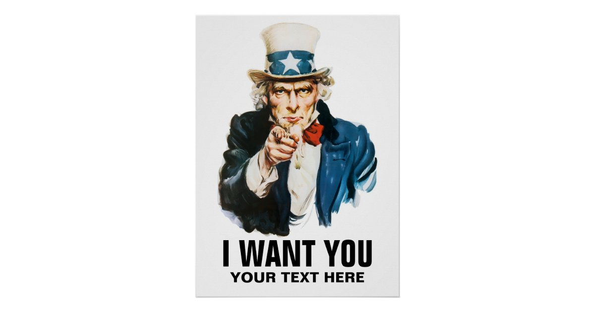 Uncle Sam I Want You Vintage Poster Zazzle Co Uk