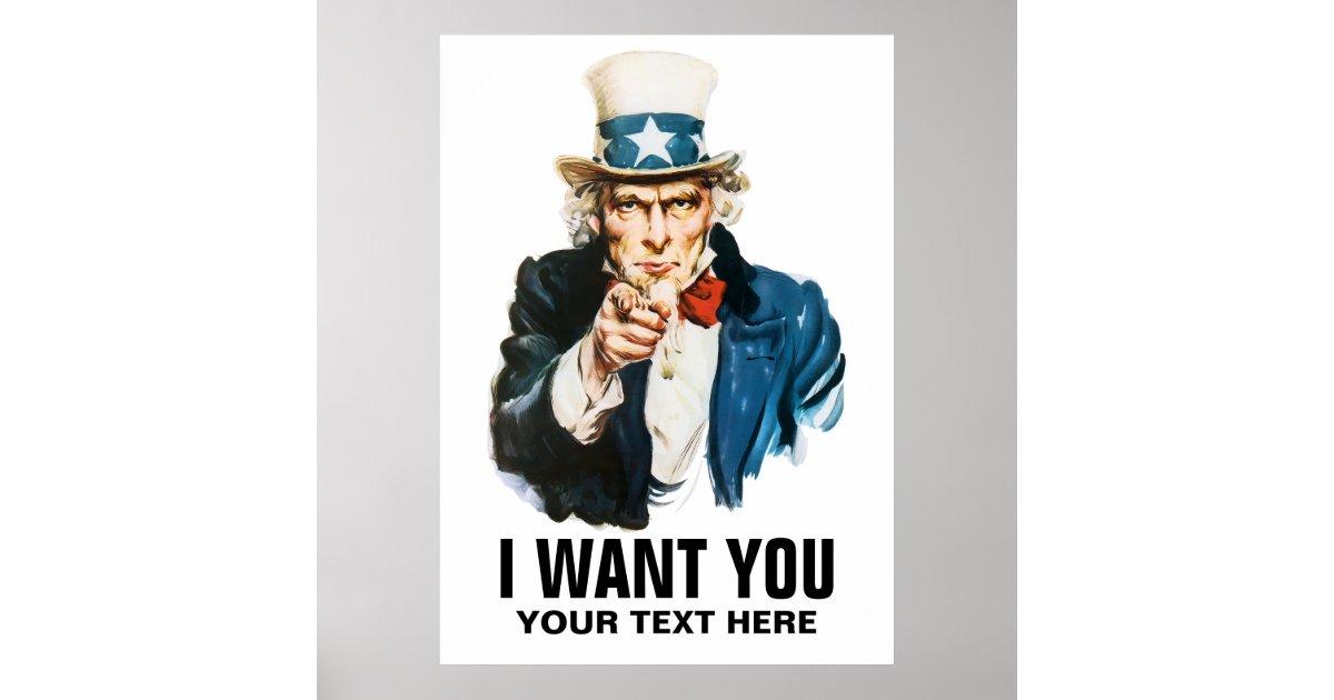 Uncle Sam I Want You Vintage Poster Zazzle Co Uk