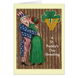 Uncle Sam & Irish Lady Kiss Card