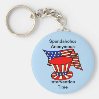 Uncle Sam is a shopaholic Intervention Time Basic Round Button Key Ring