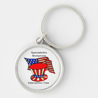 Uncle Sam is a shopaholic Intervention Time Silver-Colored Round Key Ring