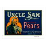 Uncle Sam Pear Crate LabelWapato, WA Postcards