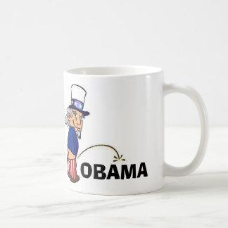 Uncle Sam peeing on Obama Basic White Mug