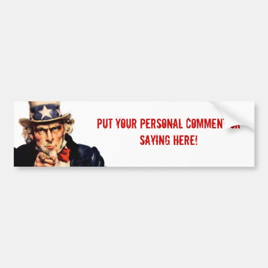 Uncle Sam Personalised Bumper Sticker