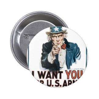 Uncle Sam Poster, America. I Want You For... 6 Cm Round Badge