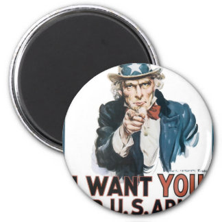 Uncle Sam Poster, America. I Want You For... 6 Cm Round Magnet