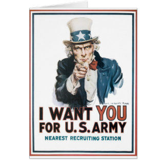 Uncle Sam Poster, America. I Want You For... Card