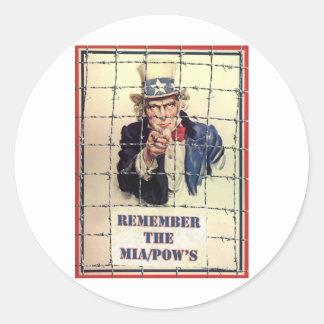 Uncle Sam POW-MIA Classic Round Sticker