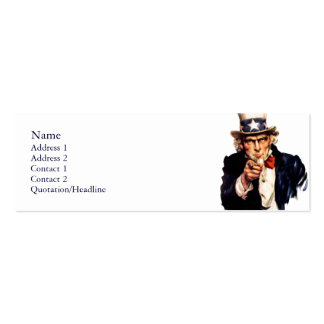 Uncle Sam Profile Cards Double-Sided Mini Business Cards (Pack Of 20)