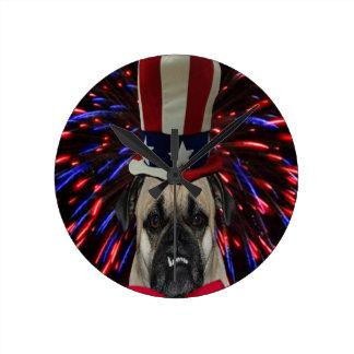 Uncle Sam Pug Clock