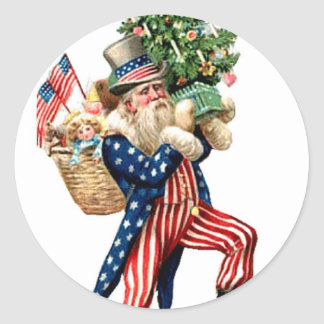 Uncle Sam Santa Claus Christmas Classic Round Sticker