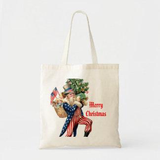 Uncle Sam Santa Claus Christmas Gift Bag Tote