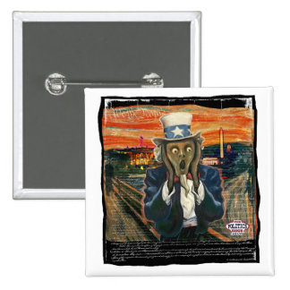 Uncle Sam The Scream by Yes Politics Suck 15 Cm Square Badge