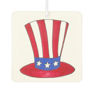 Uncle Sam Top Hat July 4th USA Patriotic Red Blue Car Air Freshener