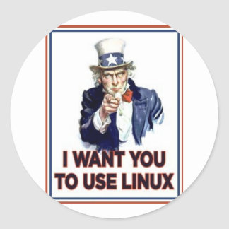 Uncle Sam: Use Linux Classic Round Sticker