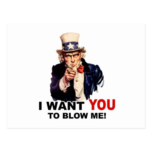 Uncle Sam WANT YOU BLOW ME Post Card