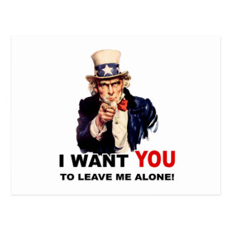 Uncle Sam WANT YOU LEAVE ME ALONE Postcard