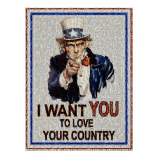 Uncle Sam Wants You Mosiac Made from 3000 photos Posters